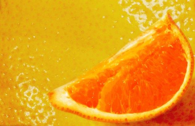 Close-up of the segment of a grapefruit