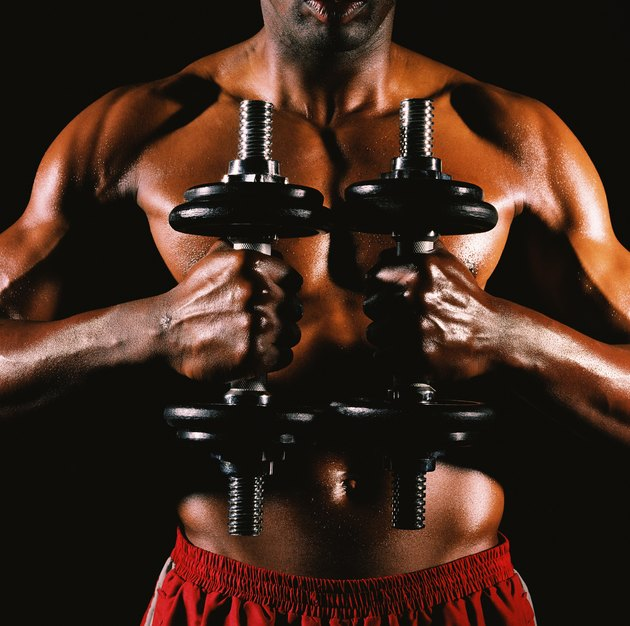Mid section view of a muscular man holding dumbbells