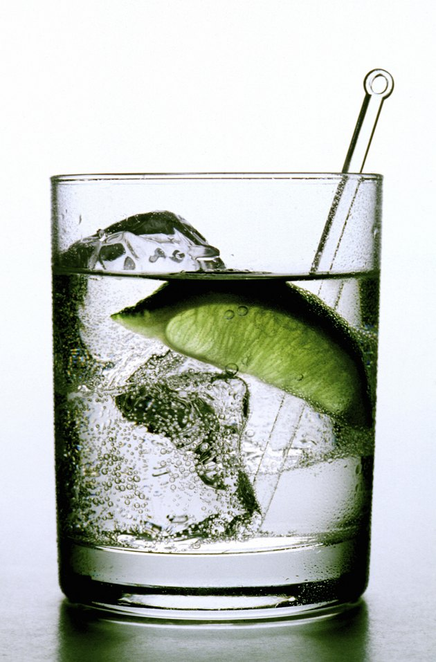 Gin and tonic with a lime wedge