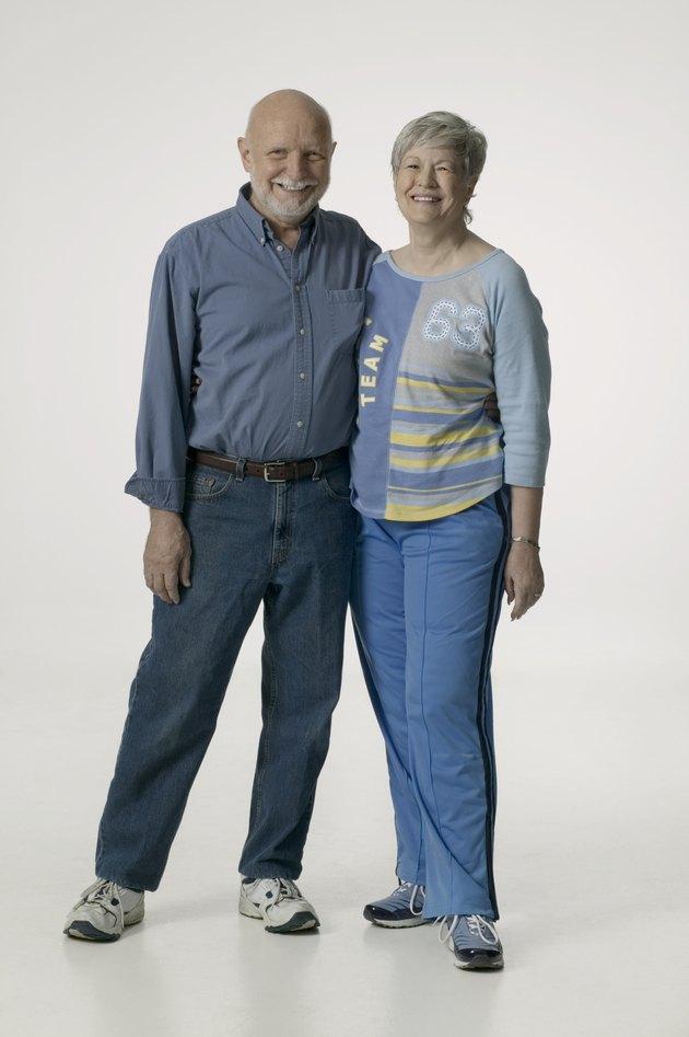 Senior couple, posing in studio, portrait