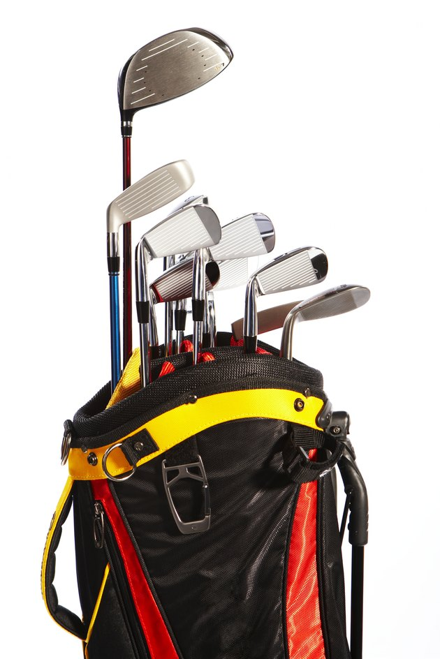 Bag with collection of golf clubs
