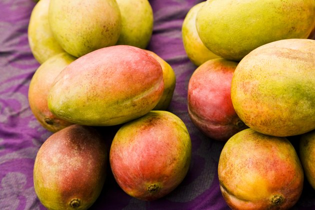 Mangoes for sale at a market stall, Papeete, Tahiti, French Polynesia