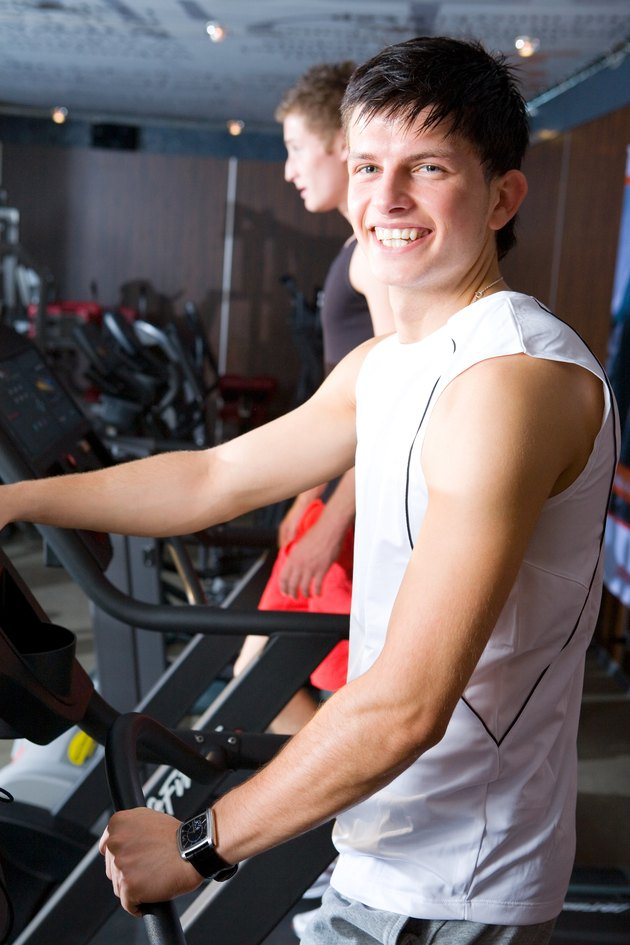 Man working out on treadmill