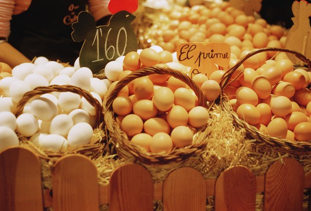 Close-up of eggs in a market in Barcelona
