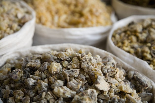 UAE, Dubai, frankincense and other spices for sale in the spice souq in Deira