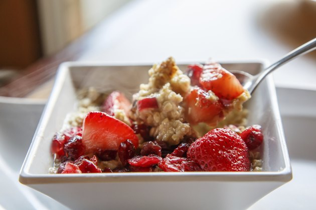 Hot Oatmeal with Strawberries and Cranberries
