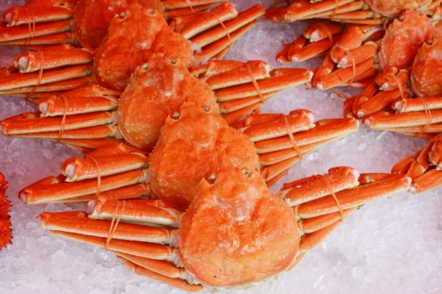 Boiled Red king crabs on the ice