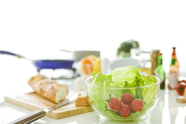 Baguette and fresh salad ingredients