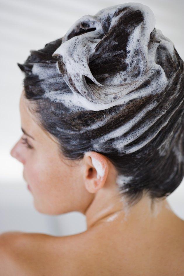 Woman washing her hair