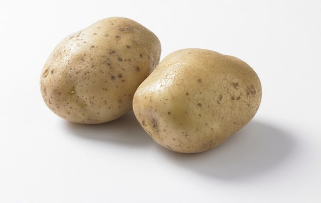 Two potatoes, close up