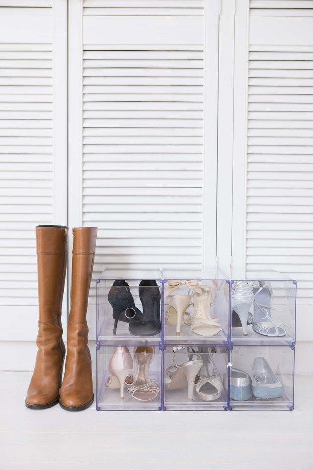 Shoe rack by closet