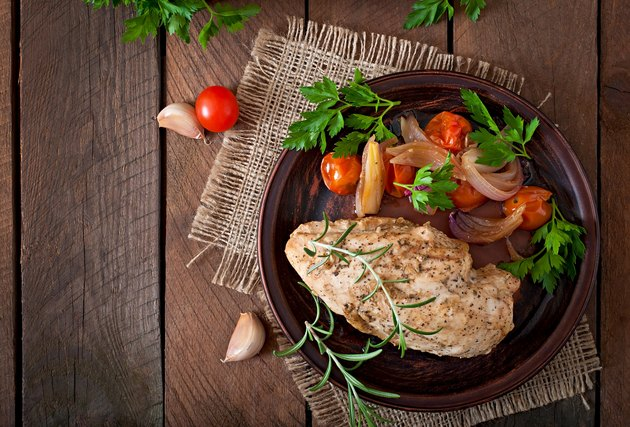 healthy baked chicken breast with vegetables