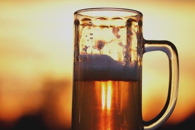 beer mug at sunset