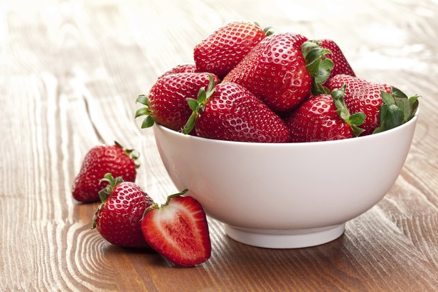 Appetizing strawberry in the bowl.