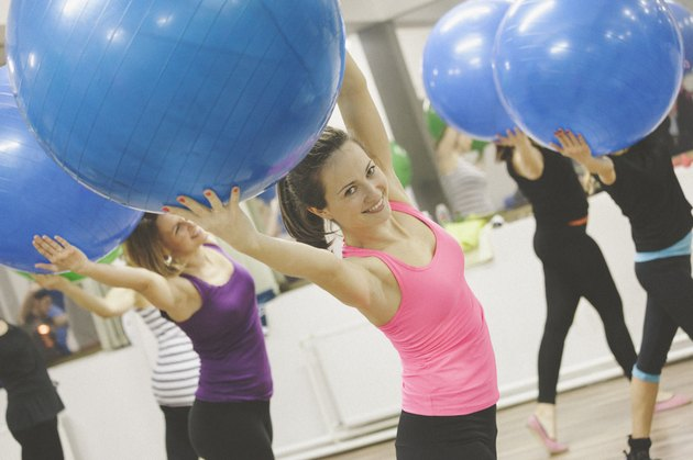 Exercise with pilates ball