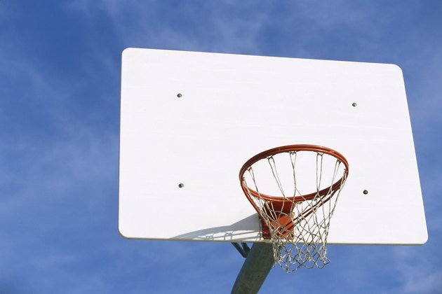 Low angle view of a basketball hoop