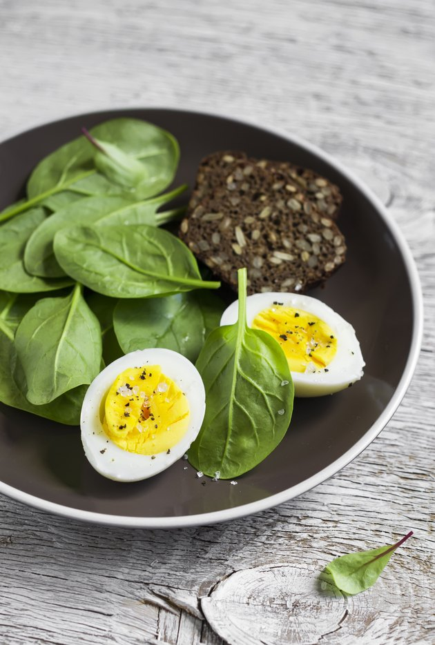 healthy snack - fresh spinach and  egg