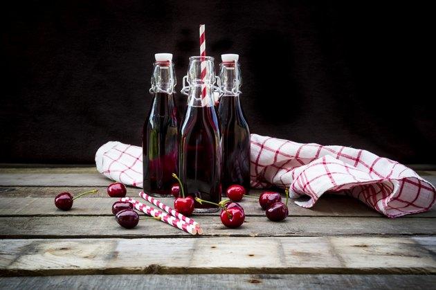 Organic cherry juice in bottles
