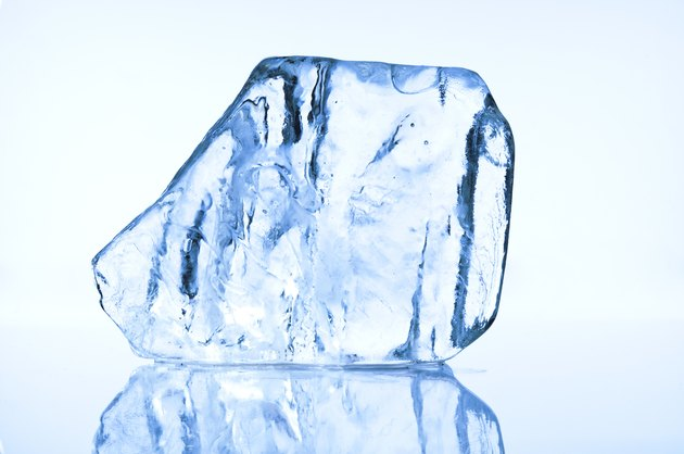 Blue ice block closeup
