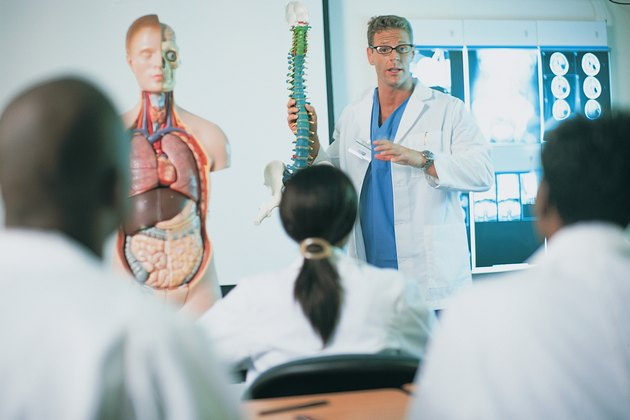 Medical classroom with instructor