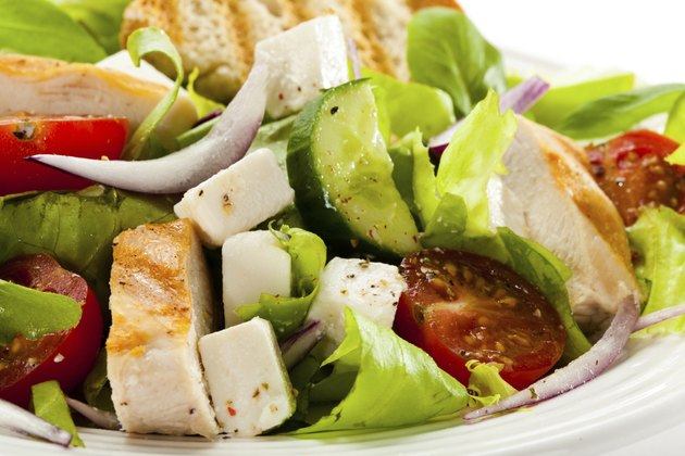 Vegetable salad with roasted chicken breast and feta