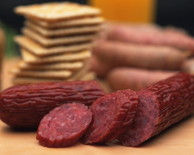 Closed Up Image of Several Slices of Salami and Some Crackers, Differential Focus