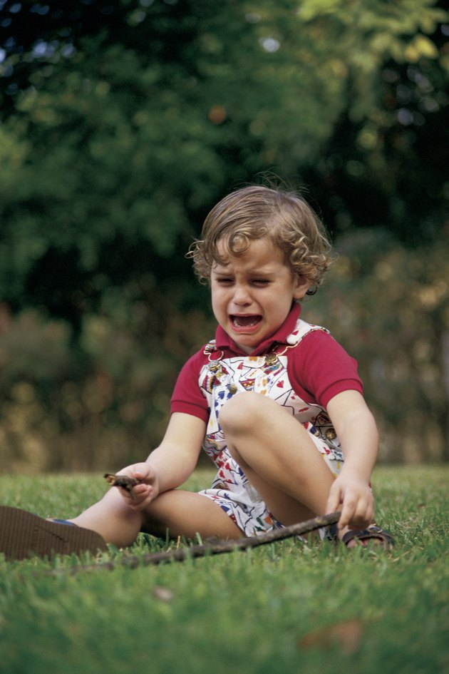 Child crying outdoors