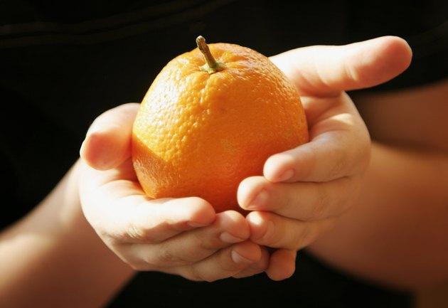 Hands holding an orange