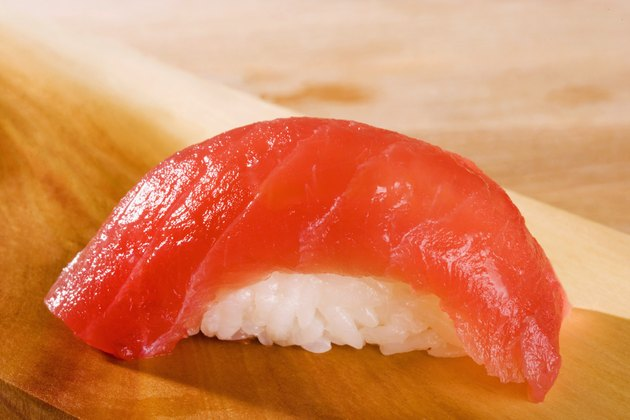Close-up of Nigiri sushi with tuna