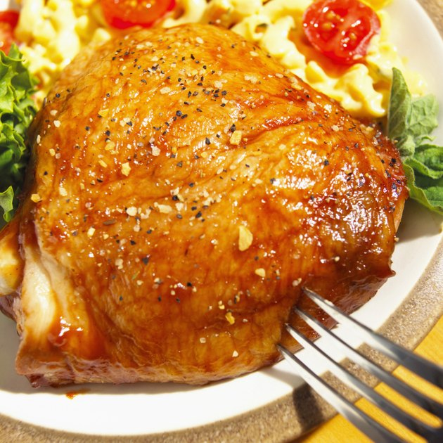 Close-up of a roasted turkey with mashed potatoes on a plate