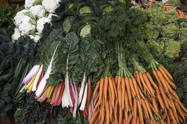 Carrots, chard, artichokes, greens and cauliflowers, full frame