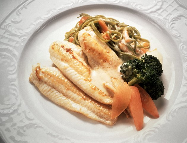 Fish Fillet with Green Vegetable Noodles