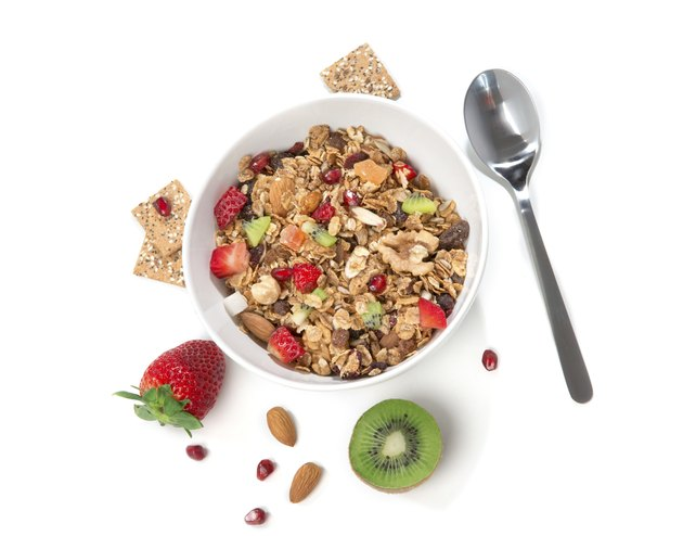 Muesli cereals bowl and spoon