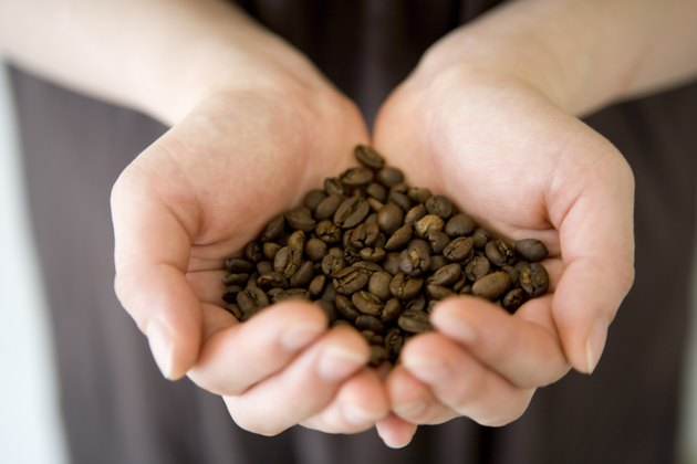 A Woman's Hands Holding Fresh Coffee Beans
