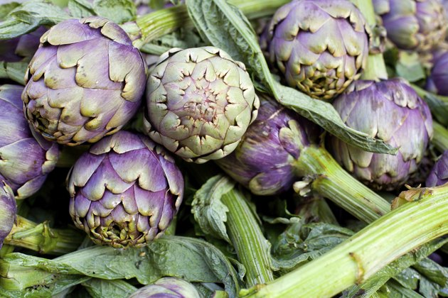 Fresh green artichokes