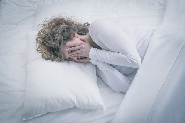 Depressed woman sleeping all day