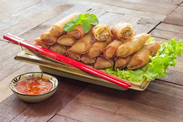 Fried Spring rolls food on wood background