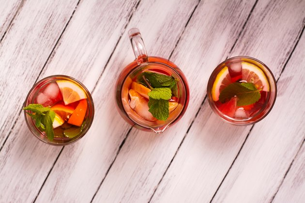 Fresh summer cocktail with fruits. Top view