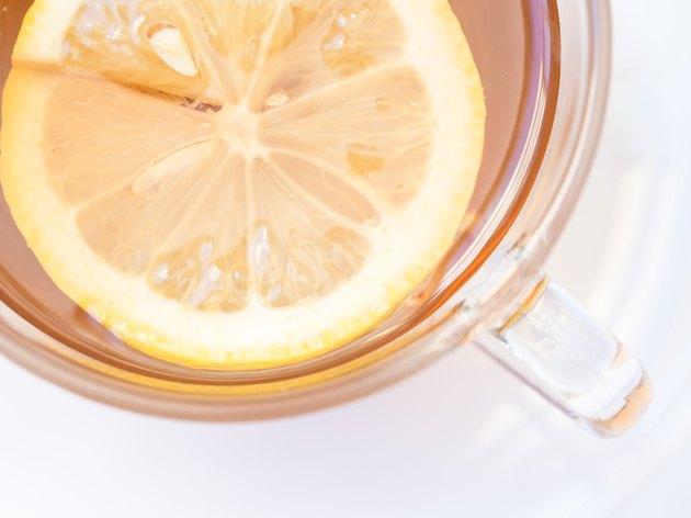 Lemon slice in a cup of tea