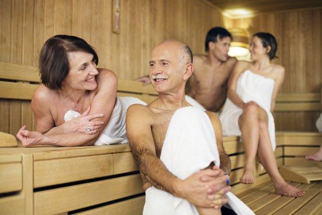 senior couple  relaxing at sauna