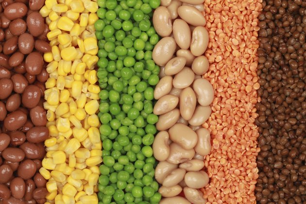 Collection of lentils, peas, beans and corn
