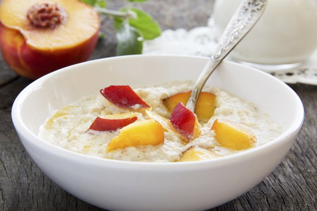 Breakfast, oatmeal with peaches.