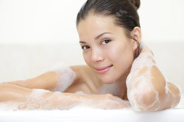 Beauty portrait of woman in bath