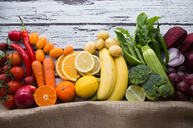 Multicolored fresh fruits and vegetables