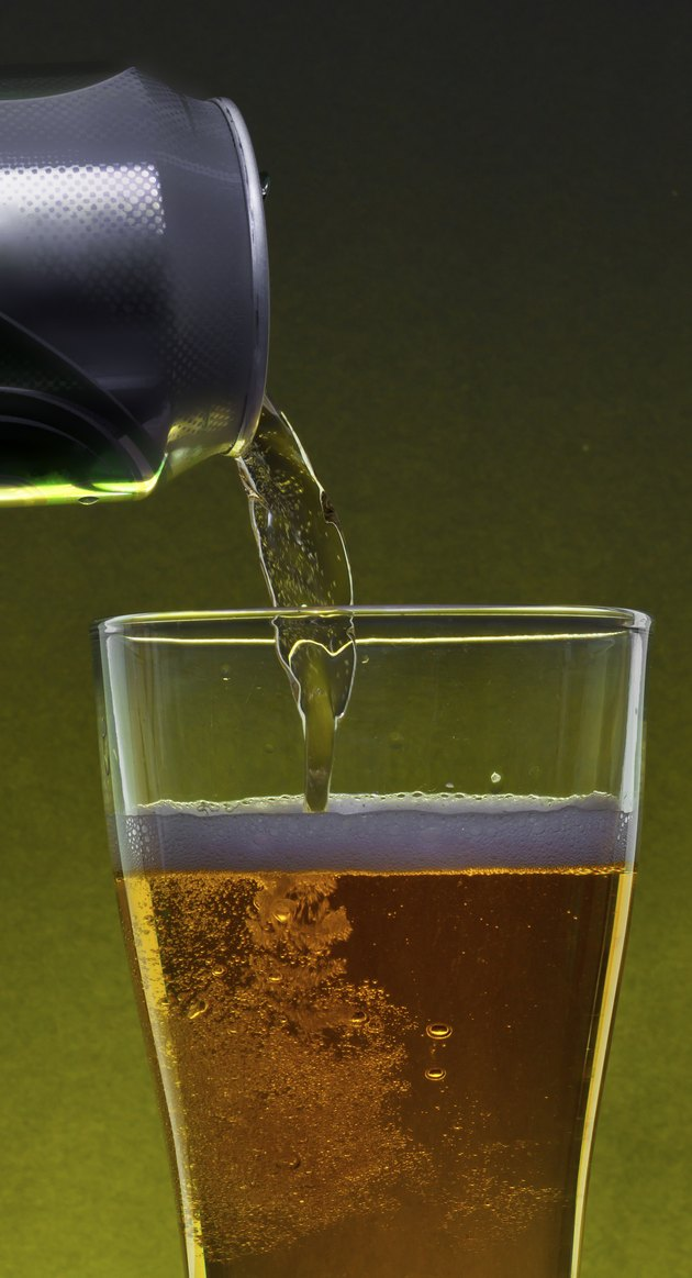 Pouring beer from a can