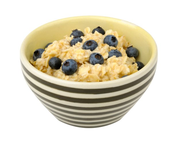Oatmeal with blueberries in a bowl