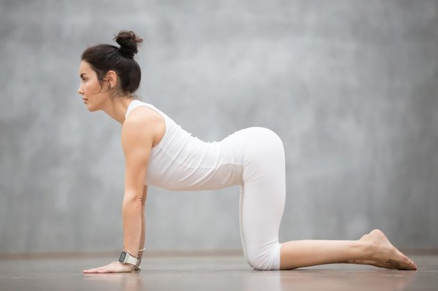 Beautiful young woman with tattoo on her foot meaning 'Wild cat' working out against grey wall, doing yoga or pilates exercise. Cow, Bitilasana, asana paired with Cat Pose on the exhale. Full length
