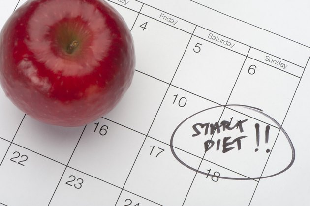 Dieting concept - Apple and Calender