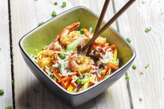 Chinese mix vegetables with rice and shrimp