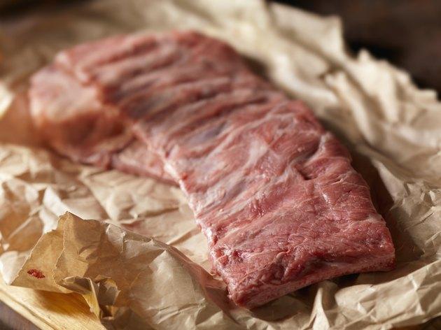 Raw Seasoned Pork Ribs in Butcher Paper